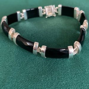 QVC sterling silver black onyx faceted bracelet